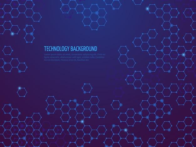 Fondo abstracto de la molécula. red de adn hexagonal. concepto de ciencia química y bio tecnologías. ilustración de adn hexagonal, bioconexión química