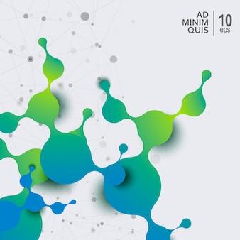 Fondo abstracto con moléculas de conexión y átomos