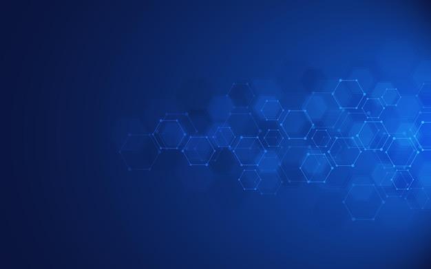Fondo abstracto de moléculas. estructuras moleculares o ingeniería química, investigación genética, tecnología de innovación. concepto científico, técnico o médico.