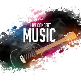 Fondo abstracto de música de concierto en vivo con guitarra