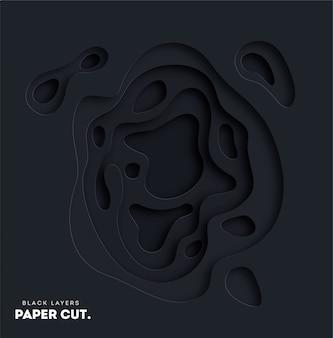 Fondo abstracto negro 3d con formas de corte de papel blanco.