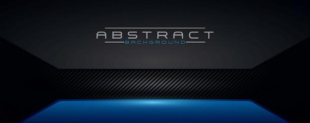 Fondo abstracto negro y brillo azul de lujo moderno con una textura de carbono oscuro