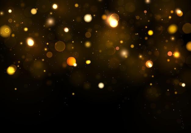 Fondo abstracto negro, dorado, blanco. glitter golden partículas de polvo mágicas brillantes. concepto mágico. fondo abstracto con efecto bokeh.