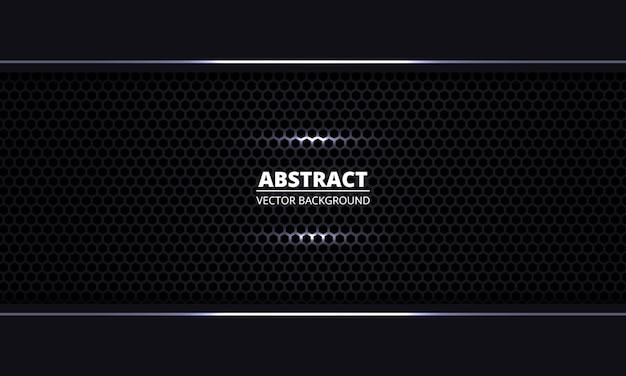 Fondo abstracto negro fondo de rejilla hexagonal de acero negro textura metal. textura oscura de fibra de carbono.