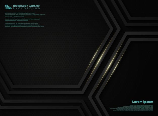 Fondo abstracto negro metálico tecnología hexágono