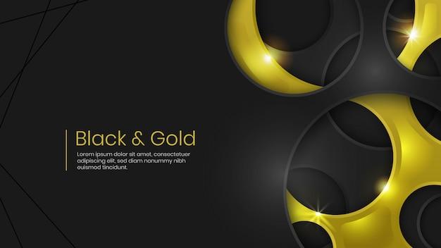 Fondo abstracto negro y oro holey