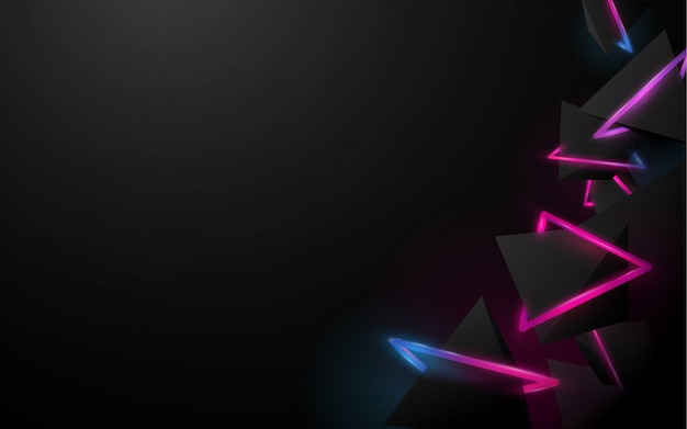 Fondo abstracto negro pirámides 3d