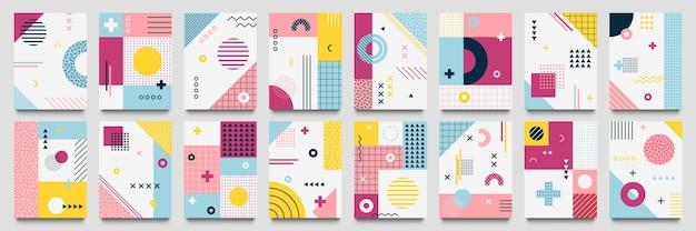 Fondo abstracto de neo memphis. plantilla de póster de cuadrícula geo moderna con textura de líneas de 1980 y conjunto de patrón pop punteado.