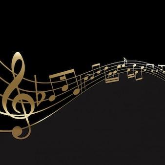 Fondo abstracto con notas musicales doradas