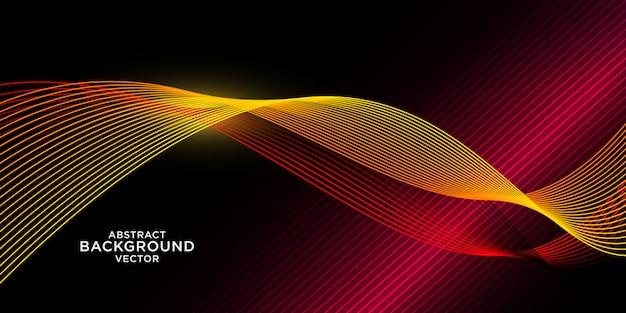 Fondo abstracto de onda amarilla con luz roja