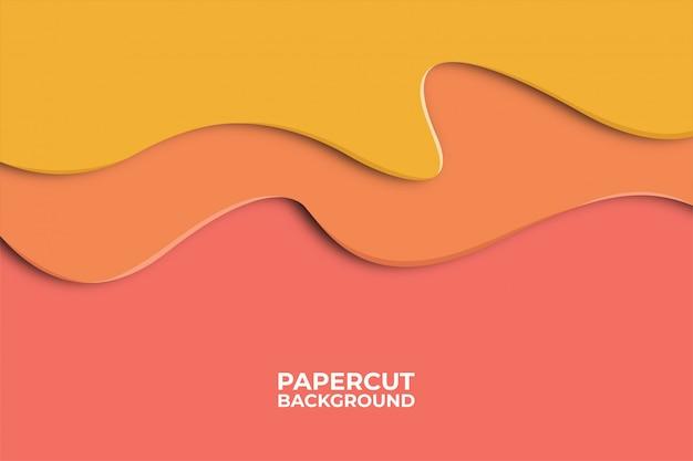 Fondo abstracto de la onda con formas de corte de papel