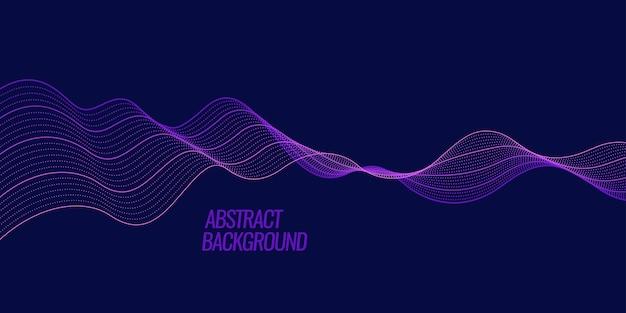 Fondo abstracto con ondas dinámicas de color, líneas y partículas. ilustración adecuada para