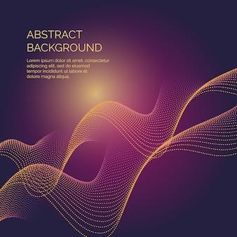 Fondo abstracto con ondas dinámicas y partículas.