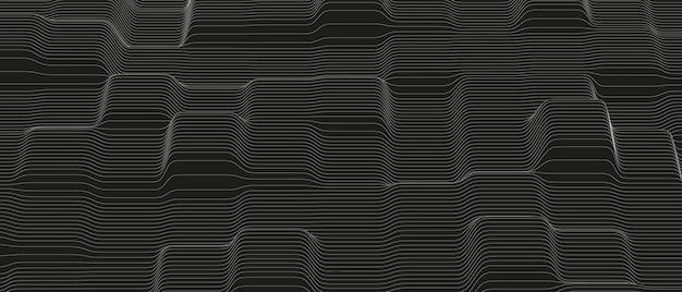 Fondo abstracto de ondas de línea de sonido monocromo
