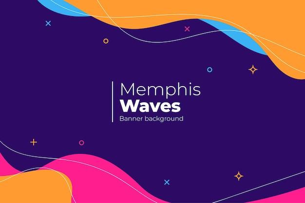 Fondo abstracto con ondas de memphis