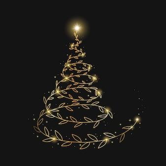 Fondo abstracto de oro árbol de navidad