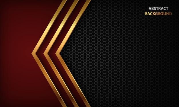 Fondo abstracto oscuro con capas de superposición de flecha roja. textura con línea dorada y patrón hexagonal.