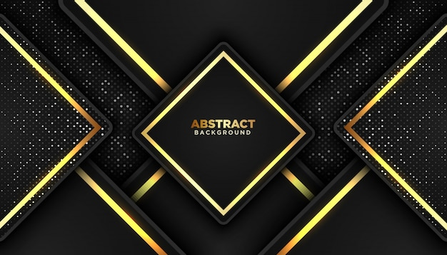 Fondo abstracto oscuro con capas superpuestas. elemento de puntos de brillos dorados
