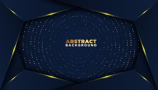 Fondo abstracto oscuro con capas superpuestas, puntos de brillo dorado, decoración de elementos, concepto de diseño de lujo