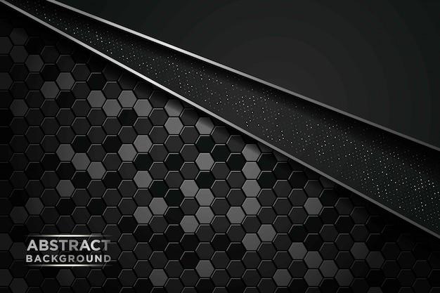 Fondo abstracto oscuro con círculo y capas superpuestas negras. lista de plata y elemento de puntos de brillos plateados sobre fondo con textura hexagonal