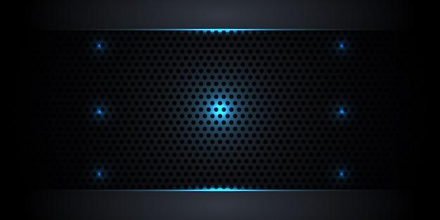 Fondo abstracto oscuro de fibra de carbono con luces de neón y líneas luminosas.