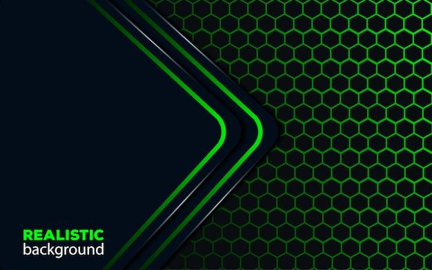 Fondo abstracto oscuro con línea verde triángulo