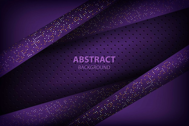 Fondo abstracto oscuro púrpura con capas de superposición negro. textura de círculo con decoración de elemento de puntos de brillos blancos y naranjas.