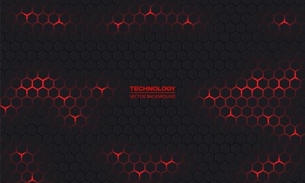 Fondo abstracto oscuro tecnología hexagonal.