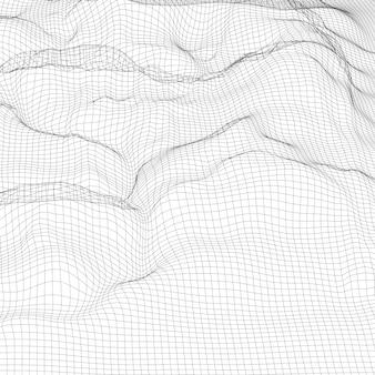 Fondo abstracto del paisaje del wireframe digital. fondo cibernético o tecnológico
