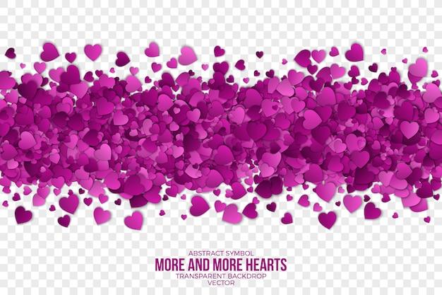 Fondo abstracto de papel 3d corazones frontera