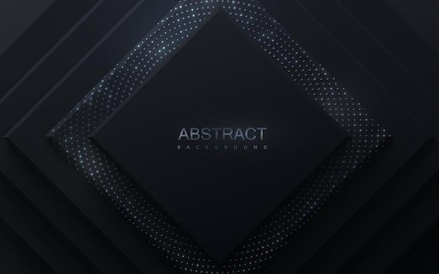 Fondo abstracto de papercut con capas de papel cuadradas escalonadas texturizadas con brillos plateados