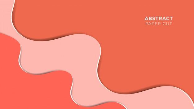 Fondo abstracto de papercut, diseño superpuesto de onda rosa realista