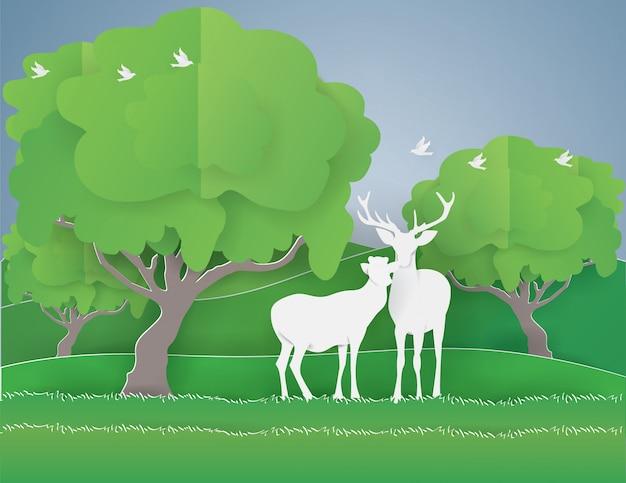 Fondo abstracto con pareja de ciervos en el bosque, concepto del día de san valentín,