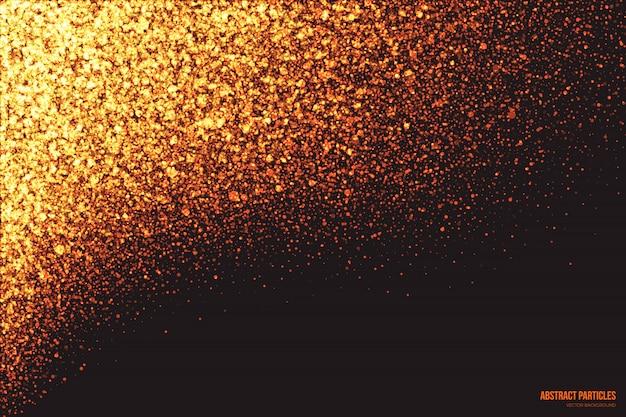 Fondo abstracto de partículas brillantes de brillo dorado