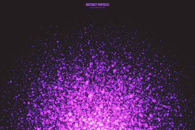 Fondo abstracto de partículas brillantes de brillo púrpura