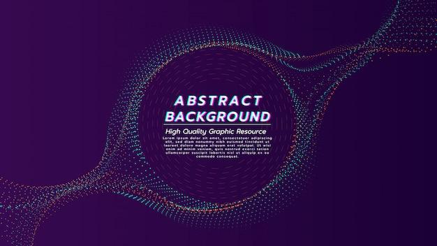 El fondo abstracto de las partículas fluye en 2 tonos de color con espacio de texto en forma de círculo.
