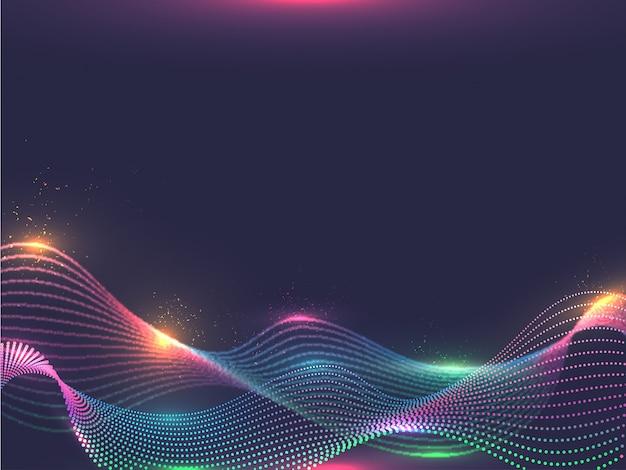 Fondo abstracto de las partículas de la onda que fluye digital del efecto del color de iluminación