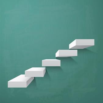 Fondo abstracto con pasos en la pizarra verde. ilustración