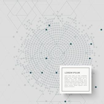 Fondo abstracto con patrón hexagonal y puntos