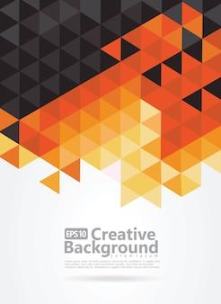 Fondo abstracto con patrón negro, naranja y amarillo de triángulos. espacio para texto.