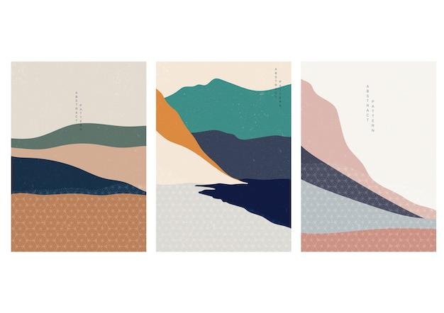 Fondo abstracto con patrón de onda japonesa. paisaje de arte con plantilla de elemento de curva.