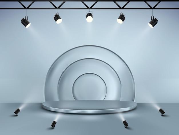 Fondo abstracto con pedestal. escenario de vector 3d con focos. podio para espectáculo.