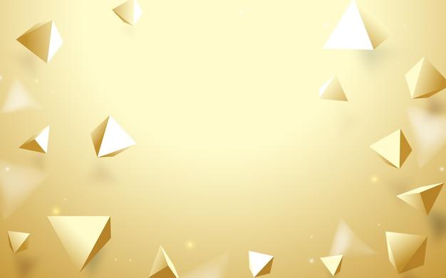 Fondo abstracto de las pirámides de oro 3d