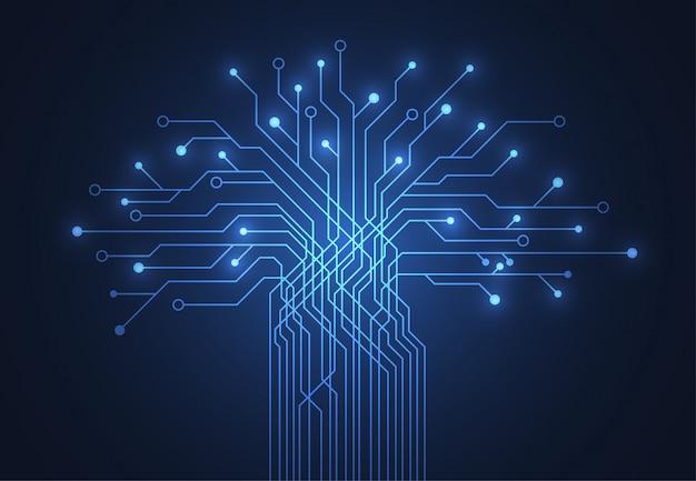 Fondo abstracto con placa de circuito de árbol de tecnología
