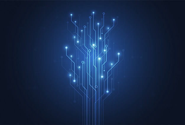 Fondo abstracto con placa de circuito de tecnología