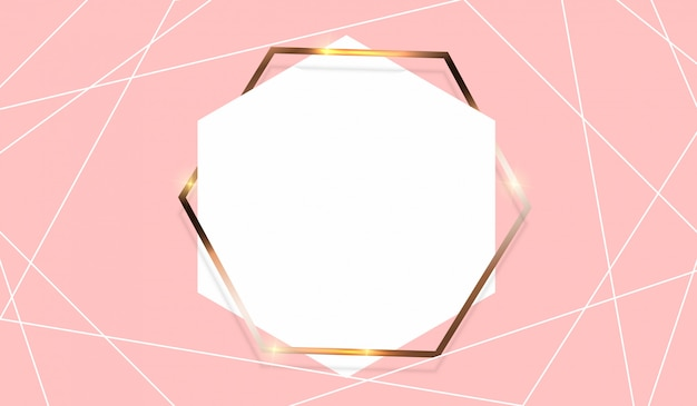 Fondo abstracto con plantilla de marco dorado.