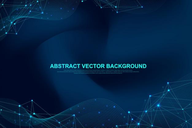Fondo abstracto del plexo con puntos y líneas conectadas. efecto geométrico del plexo grandes datos con compuestos. líneas plexo, matriz mínima. visualización de datos digitales.