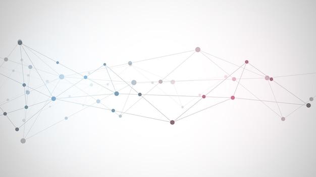 Fondo abstracto del plexo con puntos y líneas de conexión