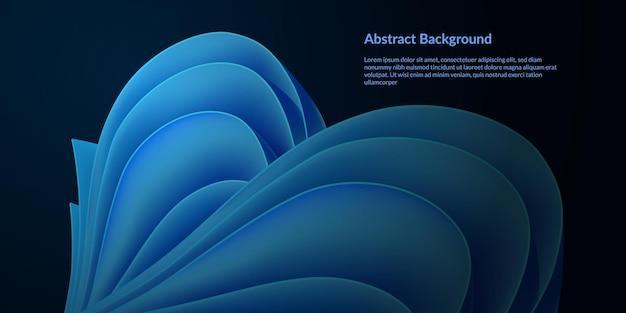 Fondo abstracto de la pluma de papel azul. actualización moderna onda vibrante futurista modo oscuro