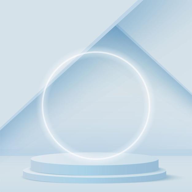 Fondo abstracto con podio 3d geométrico de color azul.